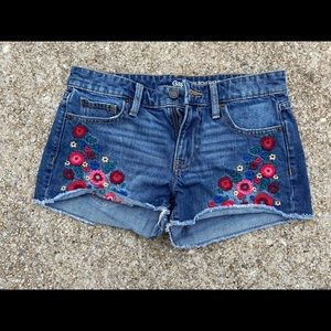 Gap, floral embroidered, denim shorts
